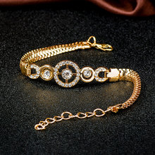 Round Crystal CZ Hand Chain Bracelets for Women Gold Color Twisted Bracelet & Bangle Engagement Jewelry Wholesale