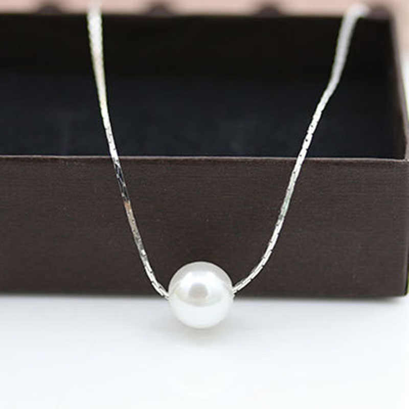 RE New Fashion Pendant Necklace Simulated Pearl Necklaces Women Holiday Beach Silver Choker Collar Statement Jewelry