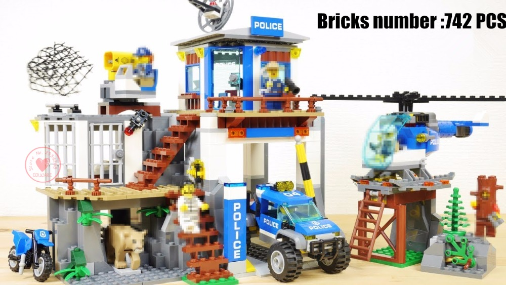 New City Mountain Police Headquater fit legoings city police swat station figures Building Blocks Bricks Toys boy Gift Kid 60174