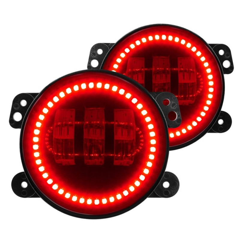 4 Inch 60W Led Fog Lights W Red Halo Ring DRL For Jeep Wrangler 97 17