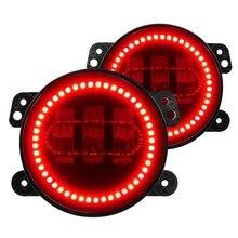 4 Inch 60W Led Fog Lights W/  Red Halo Ring DRL For Jeep Wrangler 97-17 JK TJ LJ Off Road Fog Lamps (2 pcs)
