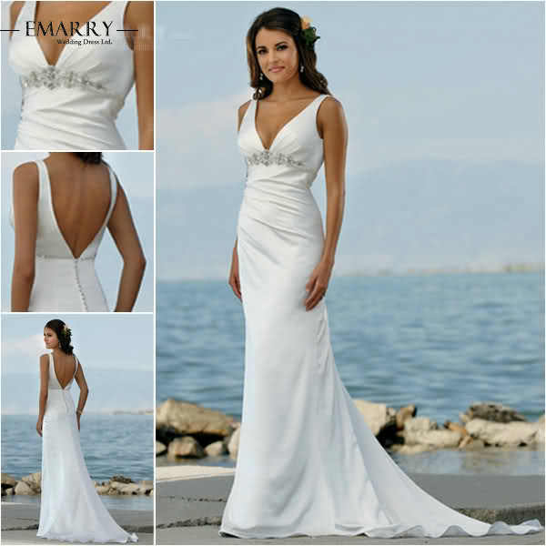 SZ486 Vestido De Noiva Romantic White Stain Mermaid Beach Wedding Dress Sexy Deep V Neck