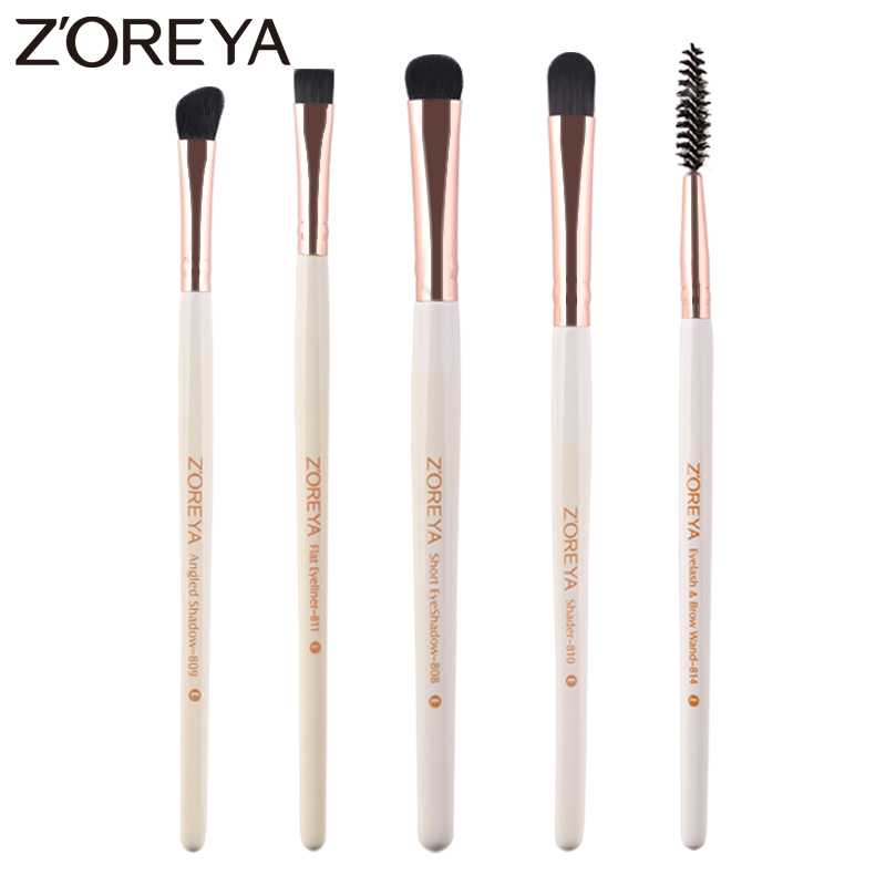 Zoreya Brand 5pcs Eye Makeup Brushes High Quality Synthetic Hair Cosmetic Tools Eye Shadow Eyeliner Eyelash Brush For Make Up