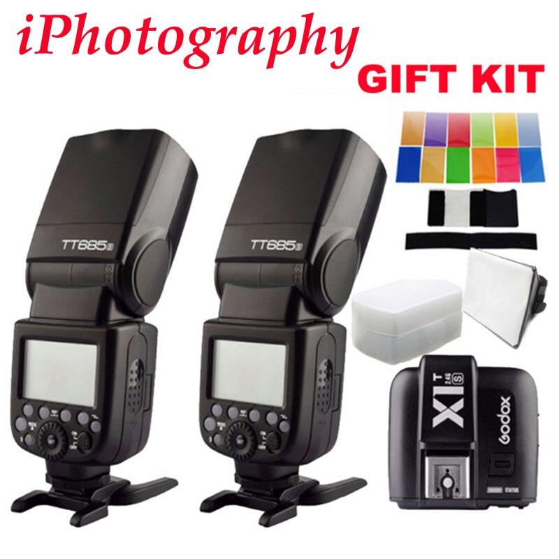 2 шт. Godox tt685s TTL HSS GN60 Вспышка Speedlite для Sony A7 II A7R II a7s II a6300 + 1 шт. x1t s TTL 2.4 г HSS Беспроводной триггер подарок