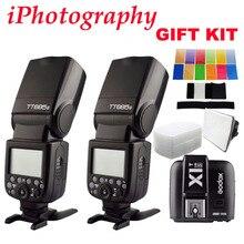 2pcs Godox TT685S TTL HSS GN60 Speedlite Flash for Sony A7 II A7R II A7S II A6300 +1pcs X1T-S TTL 2.4G HSS Wireless Trigger GIFT