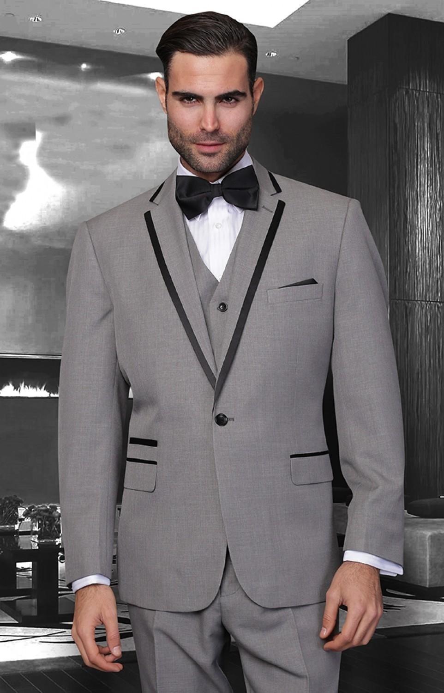 Mejor Venta por encargo Gris plata esmoquin para trajes para hombre novio de la boda trajes