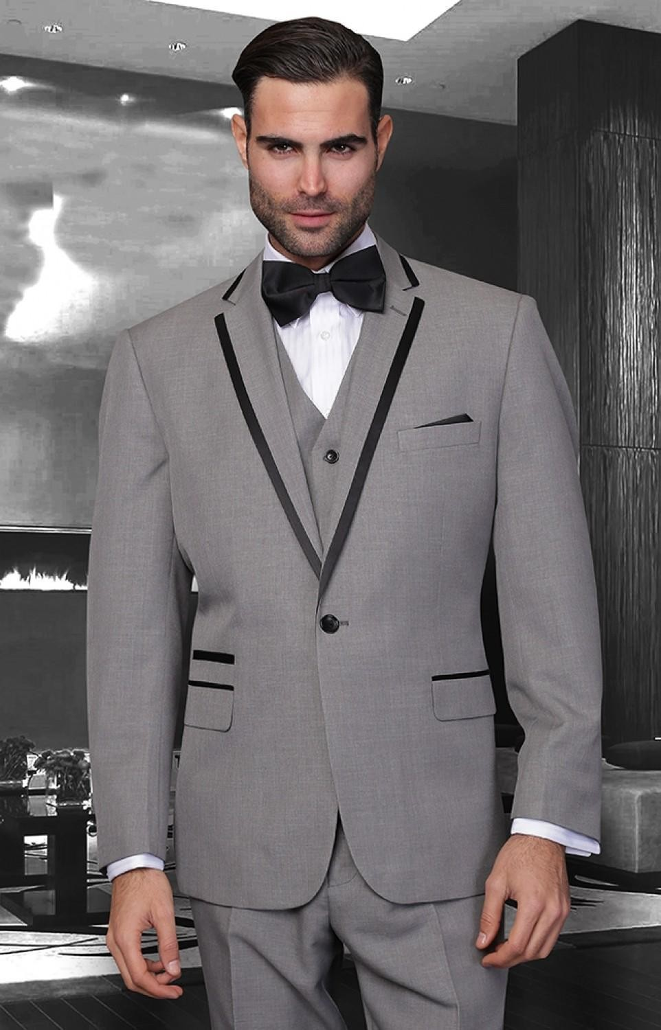Top Selling custom made Grey silver tuxedos for groom suits ...