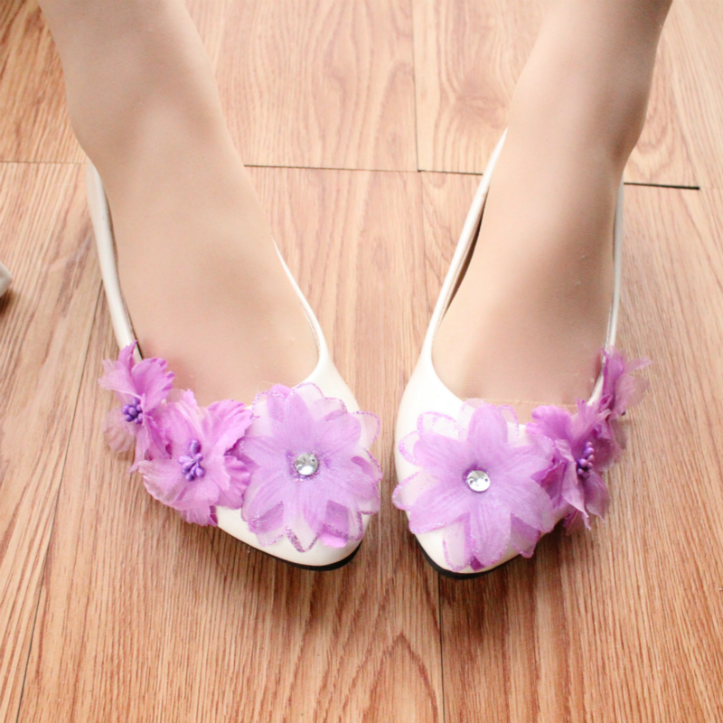 8f76857bc3a Light purple Rhinestone White Wedding Shoes adults Flats Bridesmaid Shoes  Flat Women s Low Heeled Shoes simple Shoes Party-in Women s Flats from Shoes  on ...