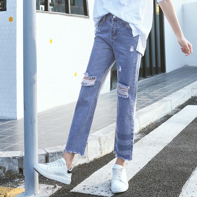 KL732 Basic denim girls hole ripped jeans femme vintage boyfriend women mid waist causal loose flare
