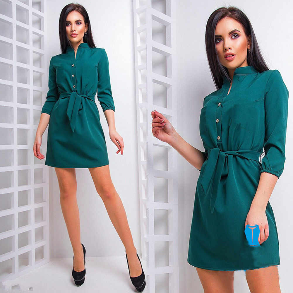 Newly Summer Fashion Formal Women Ladies Dress Long Sleeve Single Breasted Solid High Waist Sashes Mini Dress