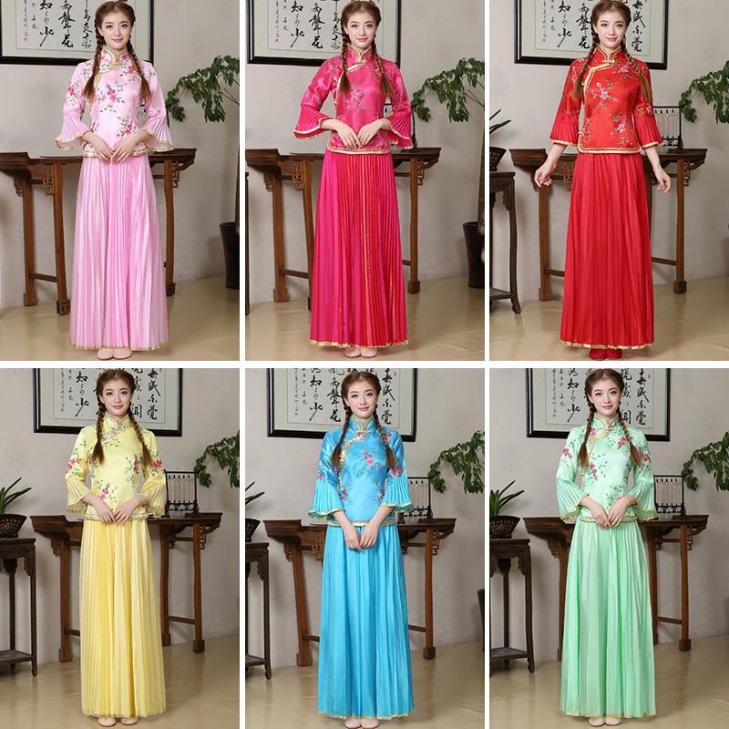 Women Flower Qipao Elegant Vintage Chinese Traditional Mandarin Collar Cheongsam Sexy Wedding Bridesmaid Dress Plus Size 3XL