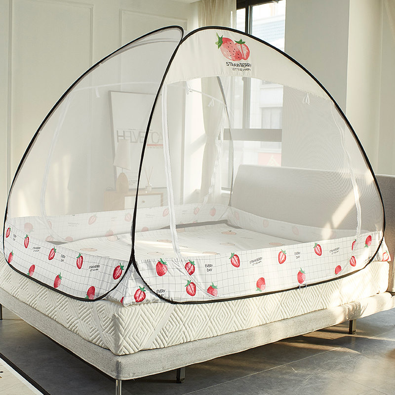 Cute Printing Bi-parting Mosquito Net Summer Isolate Mosquito Mesh Canopy Folding Mongolian Yurt Mosquito Net Kids Bed Tent