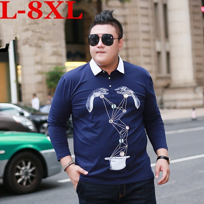 2018 plus size 8XL 7XL 6XL Hot Sale Men's British Fashion Men's Thicker Casual Slim Long Sleeved Men   Polo   Shirt Mens BIG   Polo