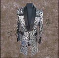 CALIENTE 2016 Nuevo traje de los hombres BIGBANG derecha Zhi-long GD plata lentejuelas leopardo capa larga traje Blazers cantante de club nocturno trajes de la etapa