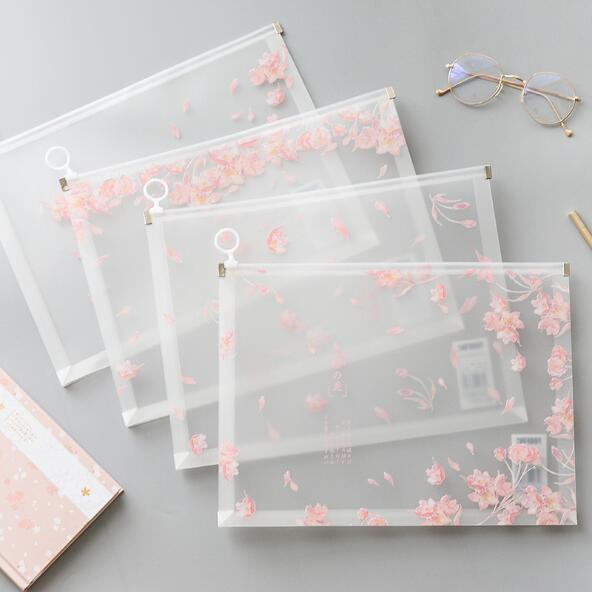 1 Piece Kawaii Sakura A4 Papers Books Organizer Bag Office File Folder School Pencil Storage Case Stationery Supplies