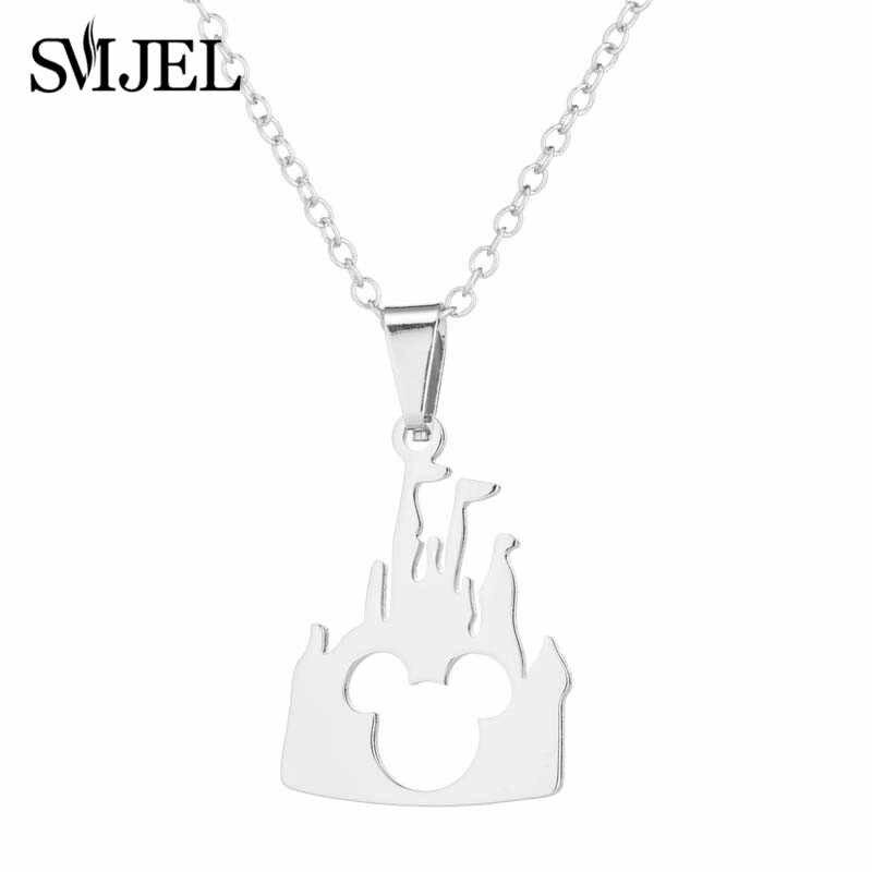 SMJEL สแตนเลสน่ารักกวางต่างหูขนาดเล็ก Gold ชุดเครื่องประดับสำหรับผู้หญิง Christmas Elk Snowflake สร้อยคอจี้ Collier