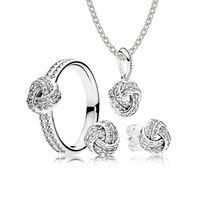 100% 925 Sterling Silver VENDITA-Sparkling Amore Nodo Regalo Set Charms Anelli Fit Gioielli FAI DA TE Originale Una serie di prezzi