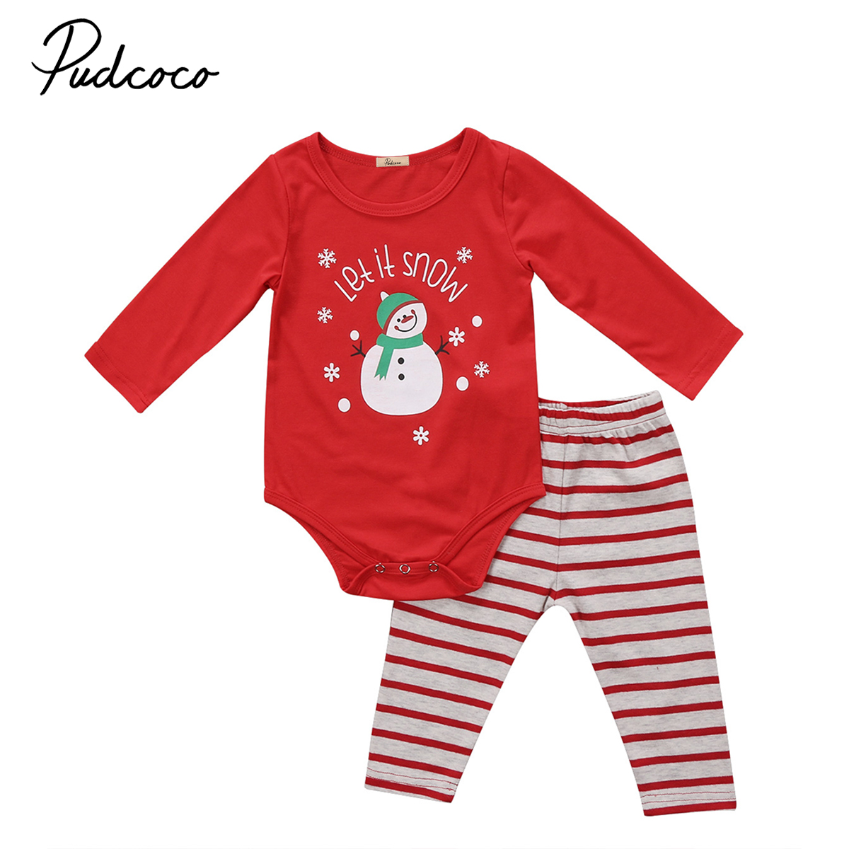 2PCS Newborn Baby Boys Girls Long Sleeve Tops Romper Pants Leggings Xmas Outfits Clothes Set