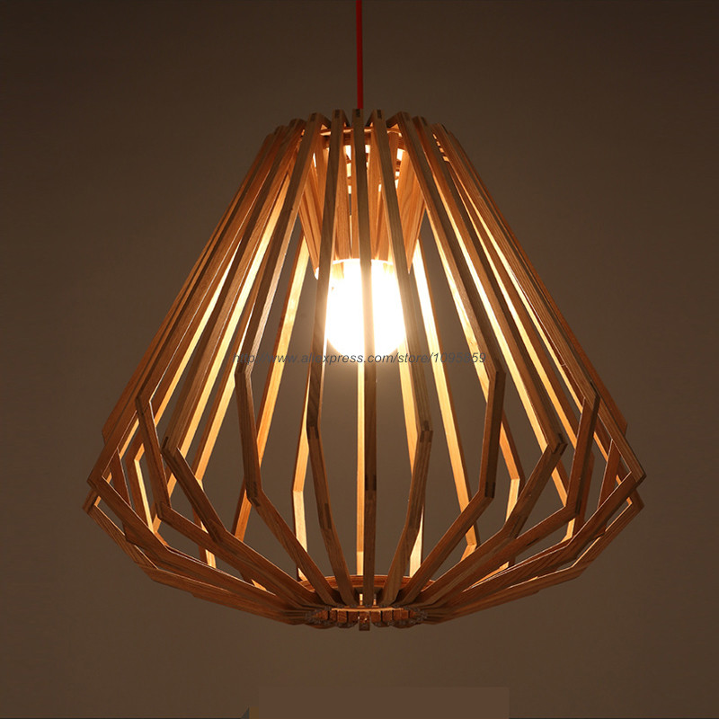 Modern Nordic Style Diamond Wooden Pendant Light Dining