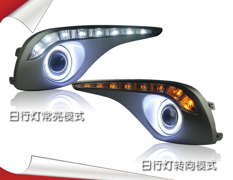 LED DRL daytime running light yellow turn signal COB angel eye projector lens fog lamp with
