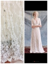 3 Yards Quality Chantilly Eyelash Bridal Lace Fabric in Off White for Veils,Wedding Gown Acessories , Bolero, Costume