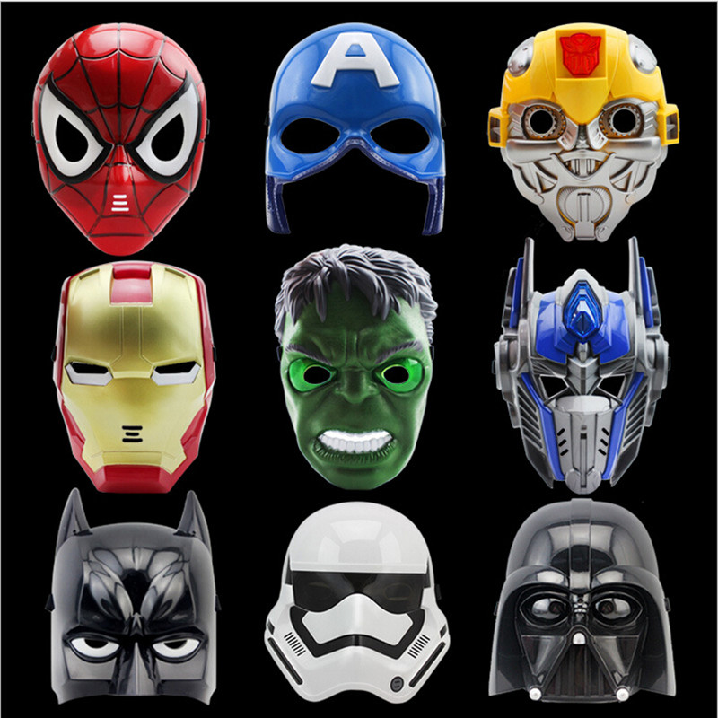 Wholesale LED Light Masks Superhero Captain America & Spiderman Optimus Prime Mask For Adults Kids Party Halloween Birthday Gift