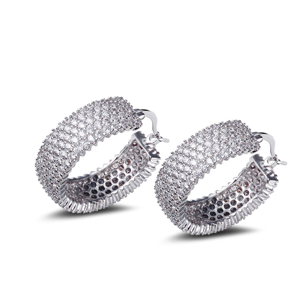 Fantastic Wide hoop earrings for night party White color sex design Cubic Zirconia stones orecchin Circle