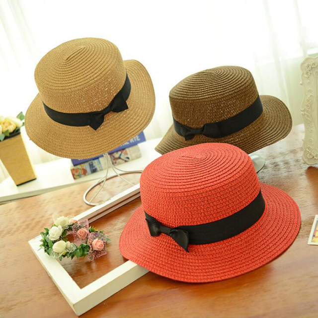 Fashion Parent child  bow hand made women straw cap