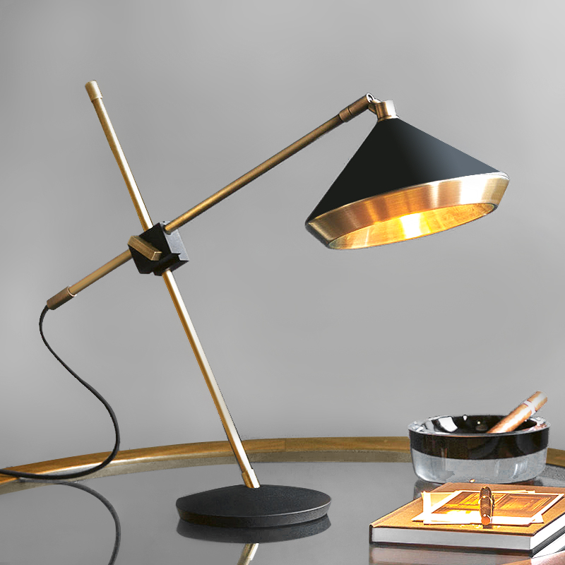 Modern Metal Table Lamp Loft Decor Bedside Lamp LED Dining Room Bedroom Copper Table Light with E27 Lamp holder Brass Color-in Table Lamps from Lights & Lighting on Shop4405058 Store