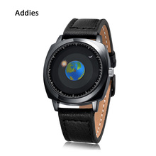 Addies New Watch Creative Rotation Earth Silicone Leather Sport Quartz Wristwatch Men Women Fashion Relogio Clock