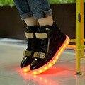 Chaussure um led 8 couleur Luminosa Unisex Dos Homens de alta qualidade alta Sapatos Para Adultos Carregamento USB Luzes LED superior up Preto Branco sapato
