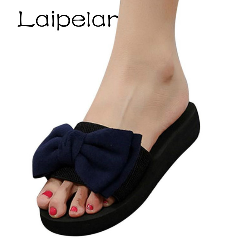 2018 New Arrival Women Bow Summer Casual Sandals Slipper Indoor Outdoor Flip-flops Beach Shoes Sapato Feminino Laipelar new women sandals sapato feminino handmade genuine leather flat shoes wedge flip flops beach women slipper shoes sandalias mujer