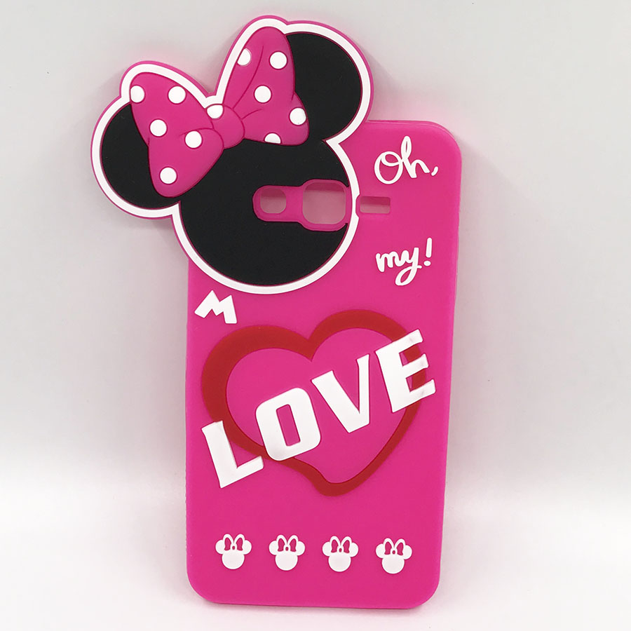NEW 3D Cartoon Minnie Mouse Pink Case Soft Silicone Cover For Samsung Galaxy Grand Prime G530 G5308 G530H G531F Phone Cases