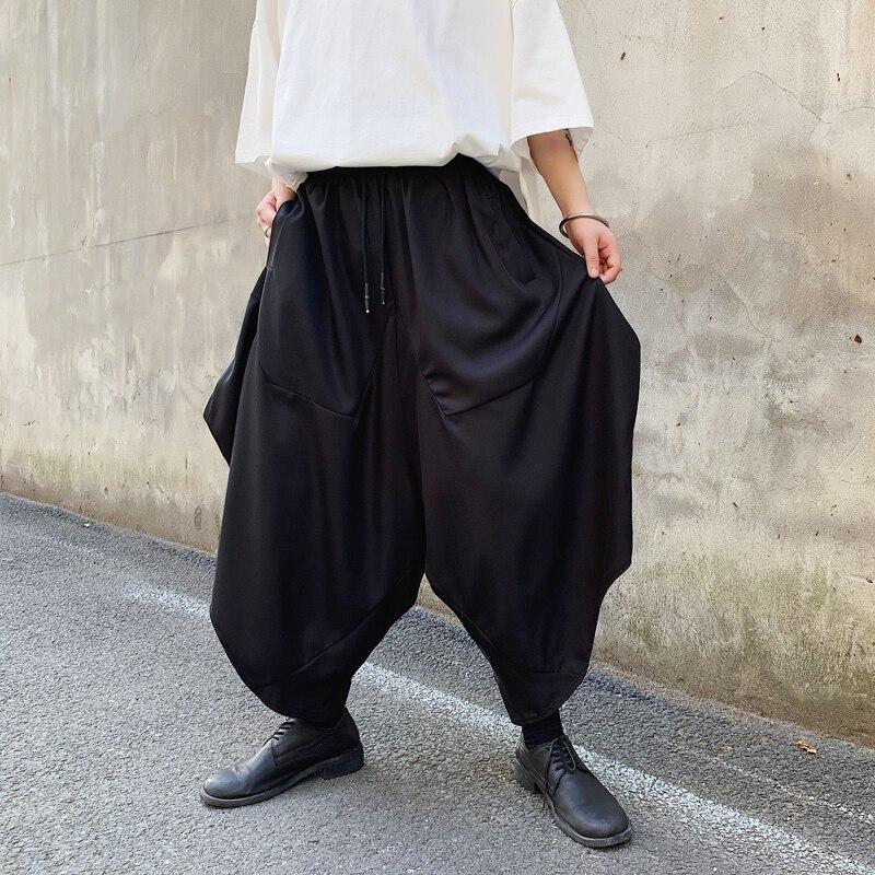 Male Skirts Trousers Men Dark Black Loose Harem Pant Japan Streetwear Hip Hop Punk Casual Pant(China)