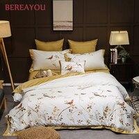 European Bedding Sets Cotton Satin Embroidery Duvet Covet Set 4/6/7pcs Luxury 60S Bed Sheet Blue Queen King Size Double Bedding