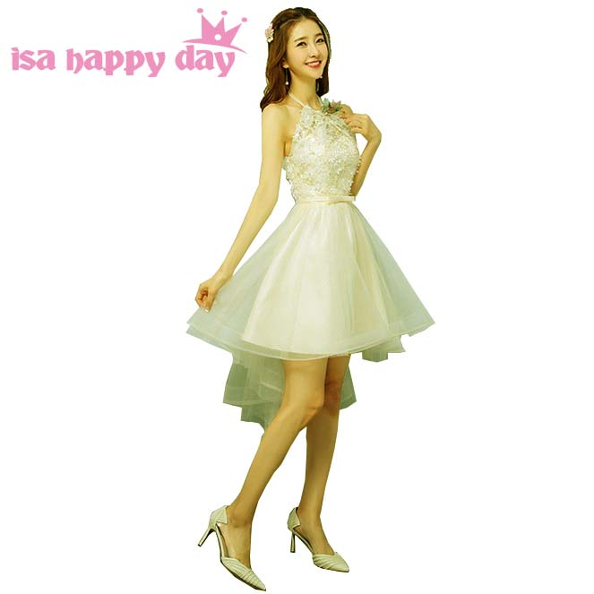 Champagne Cheap High Low Bridesmaid Dress Short Modest Bridemaids Pretty Dresses Short In Front Long In Back For Party H4267