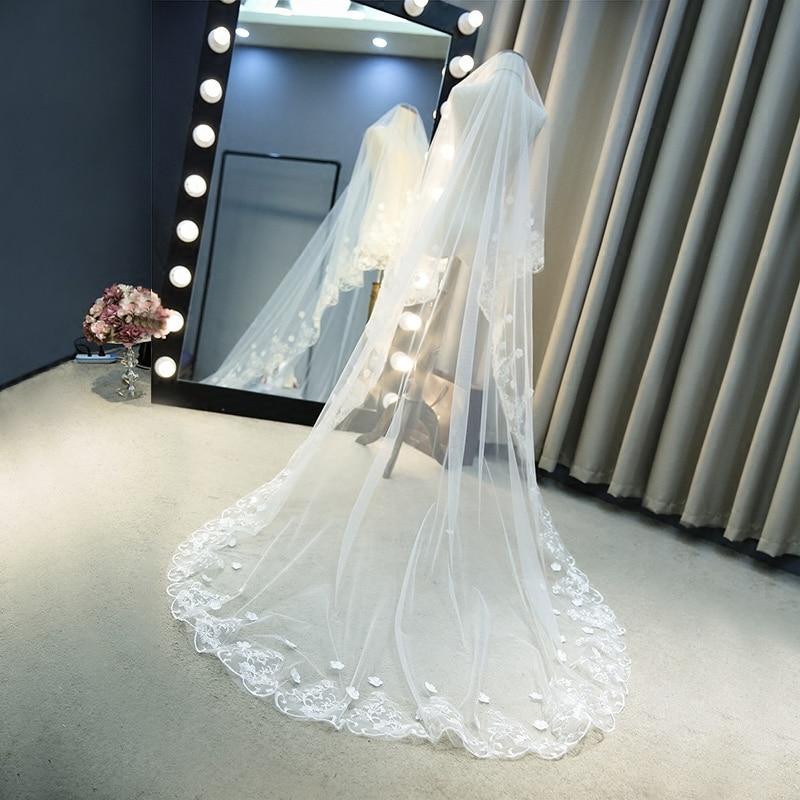 Hot Sale List Ivory Long Wedding Veil 2m 3m Flowers Beaded Lace Edge Velos Novia Wedding Accessories Cathedral Wedding Veil