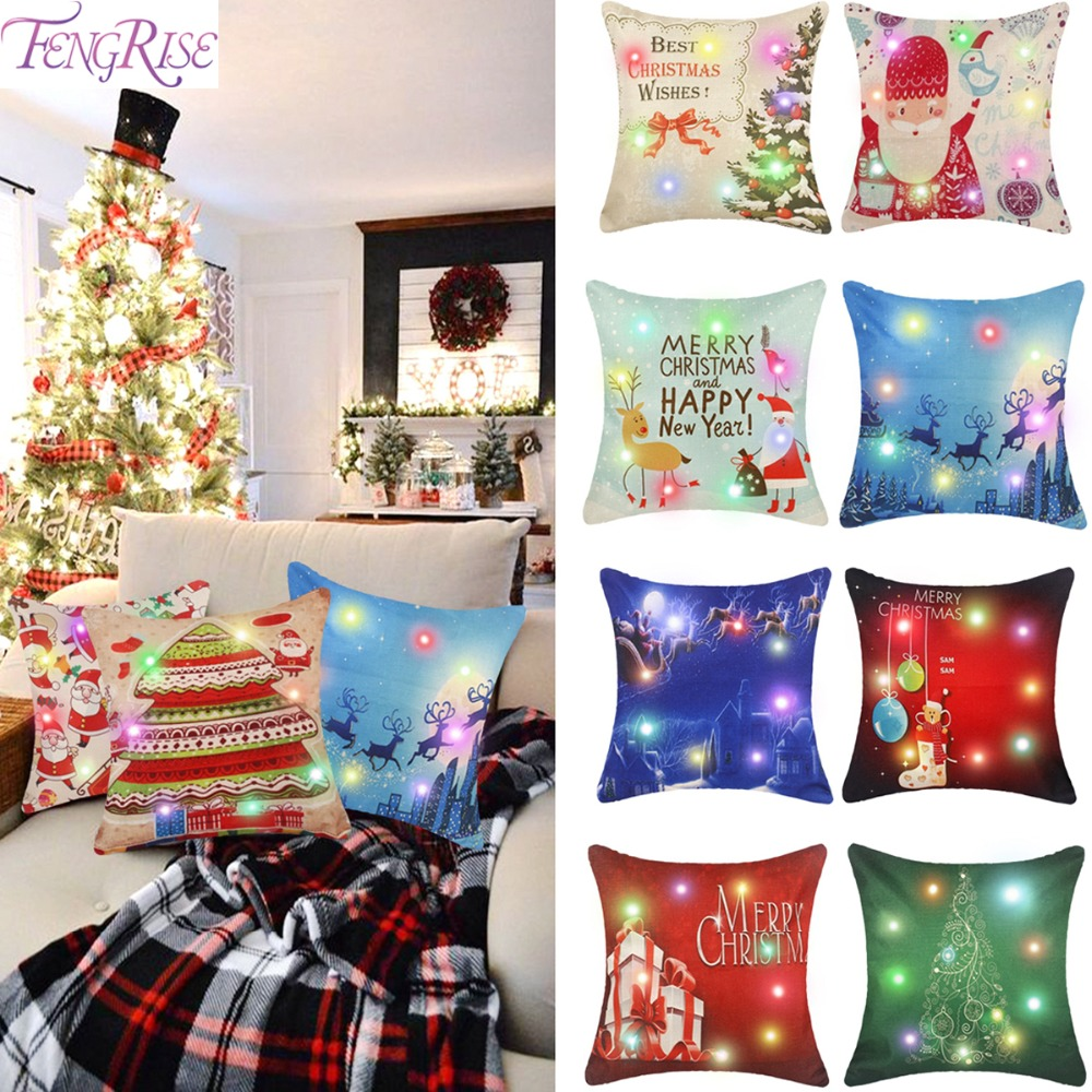 FENGRISE 45x45cm Led Light Pillowcase Christmas 2018 Decoration Noel Ornament Decor Home New Year 2019