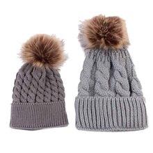 c68b9670f8b TELOTUNY maman et bébé chapeaux à tricoter filles garçons chaud chapeau  hiver nouveau-né photographie accessoires bonnet Z0829