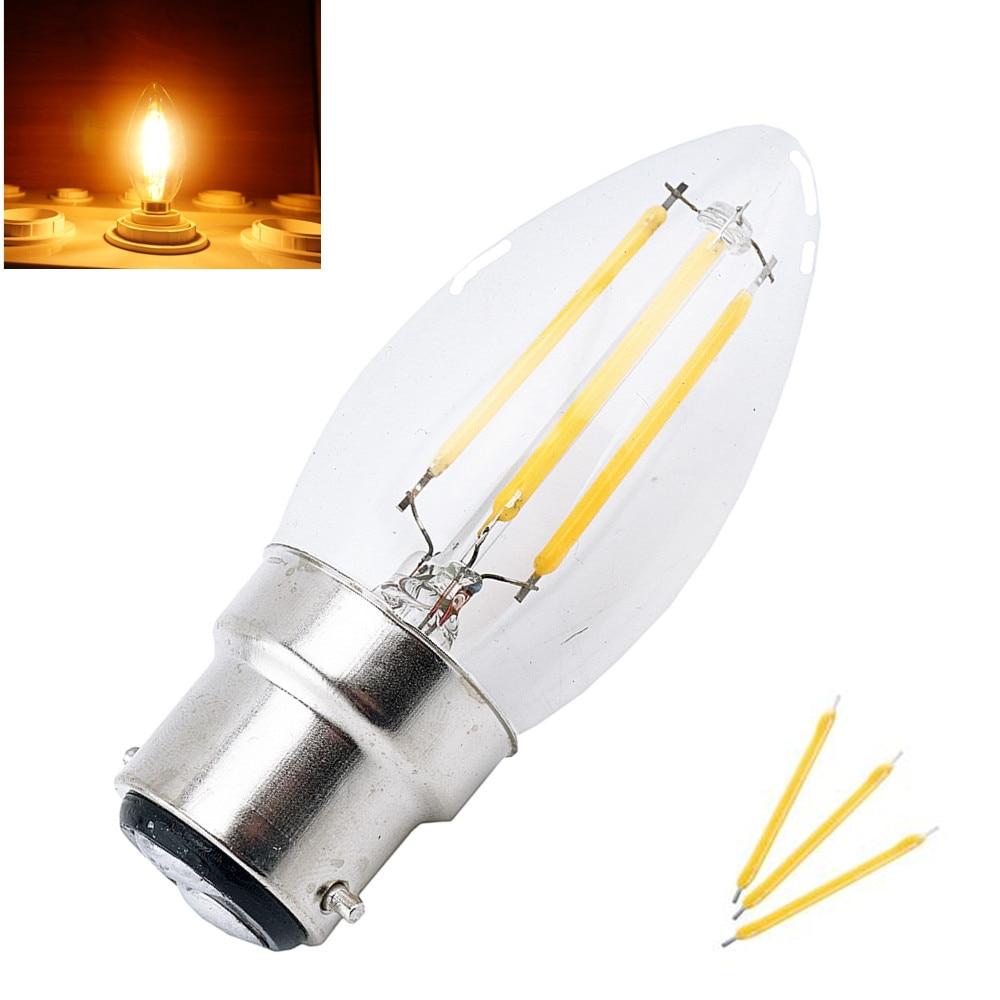 LED B22 Filament Bulb Light 2W 4W Bayonet Base Candle Bulb 220V C35 LED Torpedo Shaped Lamp for Crystal Chandelier Lighting