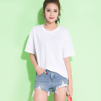 Harajuku Ladies Casual Loose T Shirt Tops Solid Color Cropped Tshirt Women Big Size Streetwear Punk