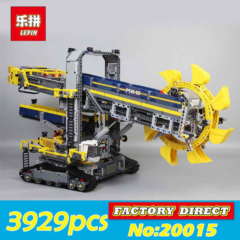Technic Series LEPIN 20015 3929Pcs Bucket Wheel Excavator Model Building Blocks Bricks Compatible 42055 Kids Toy Christmas Gift 196pcs building blocks urban engineering team excavator modeling design
