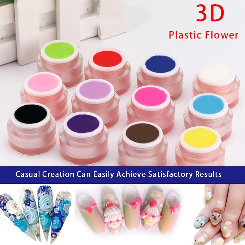 12 Colors Nail Art Design  Painting Soak Off Plasticine Gel 3D Modeling  DIY Creative Nail Design Sculpture 3D Carved UV Gel