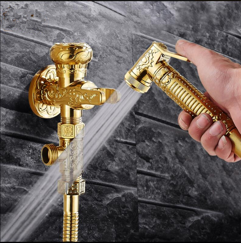 Bathroom brass Gold Bidet faucet toilet bidet shower set Portable bidet spray with brass holder and 1.5m hose hand held bidet gold solid brass sprayer hand held bidet shattaf spray factory toilet shower jet