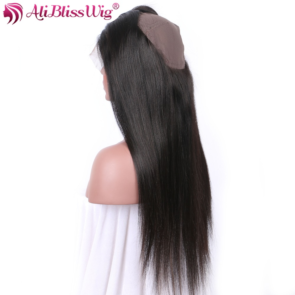 AliBlissWig Yaki Straight 360 Lace Frontal With Baby Hair Natural Color Free Part Brazilian Remy 100 % Human Hair Free Shipping