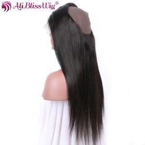 Perruque Lace Frontal 360 naturelle brésilienne Remy Yaki-AliBlissWig   Cheveux lisses, couleur naturelle, avec Baby Hair, 100% cheveux humains, partie libre, livraison gratuite