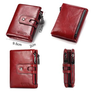 Image 3 - KAVIS Dark Red Genuine Leather Women Wallet Female Coin Purse Small Walet Portomonee Lady PORTFOLIO Zipper for Girls Vallet Mini