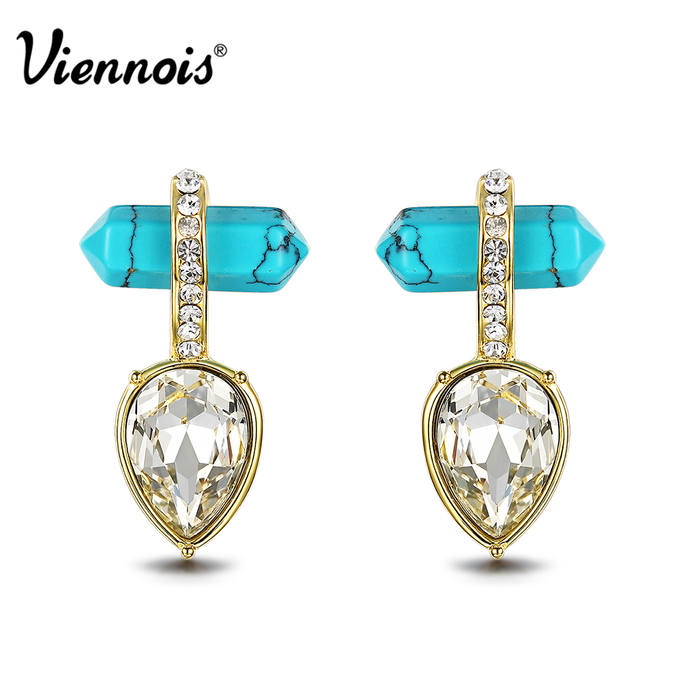 Viennois Bohemian Geometric Green Stud Earrings for Women Gold Color  Crystal Earring Female Fashion Jewelry Accessories fcd48319a5a9