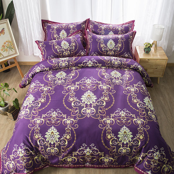 Deep purple bedding sets palace style bedclothes quilt cover comfortable duvet cover pillow cases twin full queen King size