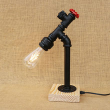 Art deco retro table lamp black workroom water pipe steam punk e27 / e26 led lights sconce for bedroom bedside workshop office(China)